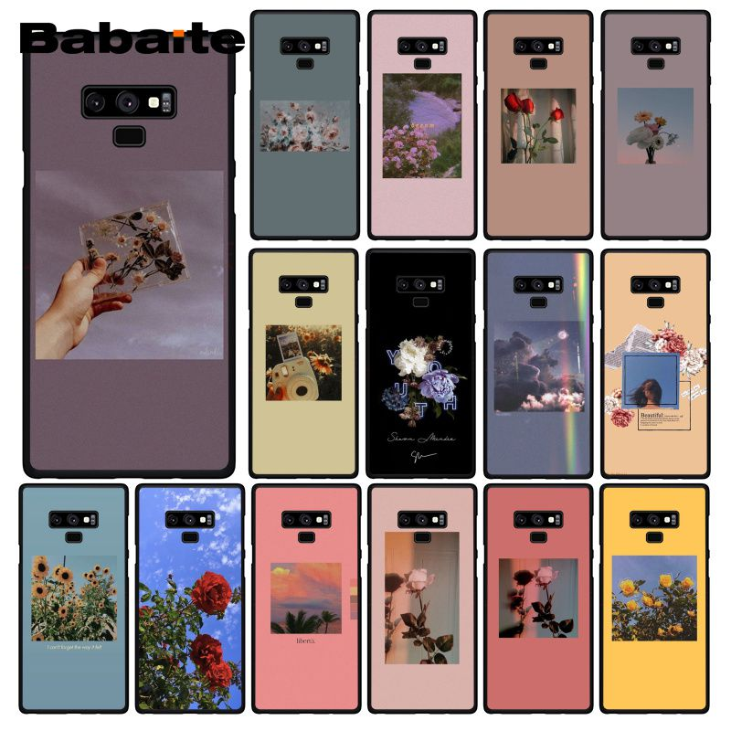 Babaite Red Yellow Pink Flower Aesthetic Phone Case For Samsung Galaxy A50 Note9 8 7 5 10 Pro J5 J6 Prime J7 Duo Phone Case Covers Aliexpress