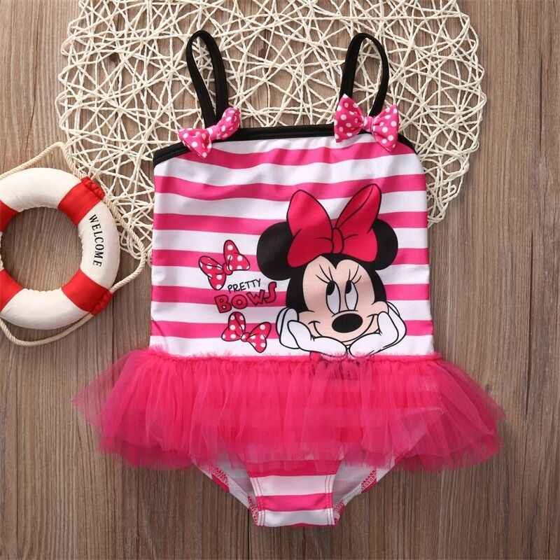 2019 Newest Hot Child Baby Kids Girl Striped Minnie One Piece Swimsuit Swimwear Monokini Bikini Bathing Suit Tutu Swimsuit