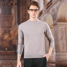UCAK Brand Sweater Men Pure Merino Wool O-Neck Multiple Colors Casual 2020 Thin Spring Autumn Streetwear Sweaters Pullover U3152