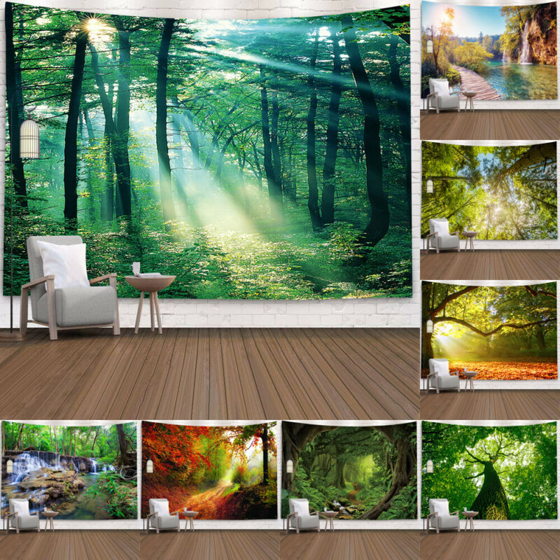 Nature Wall Tapestry Tree Forest Starry Sky Psychedelic Carpet Wall Cloth Tapestries Tenture Hippie Tree Mandala Tapiz Landscape