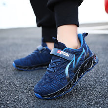 Kids Air Cushion Running Sneakers Boys Fashion Breathable Mesh Sport Shoes Children Non-slip Lightweight Black Sneakers Girls