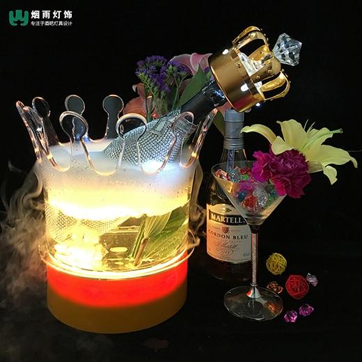 LED Charging Bar Luminous Ice Bucket Creative Acrylic Crown Waterproof Fragrant Red Wine Luminous Champagne Bucket Wine