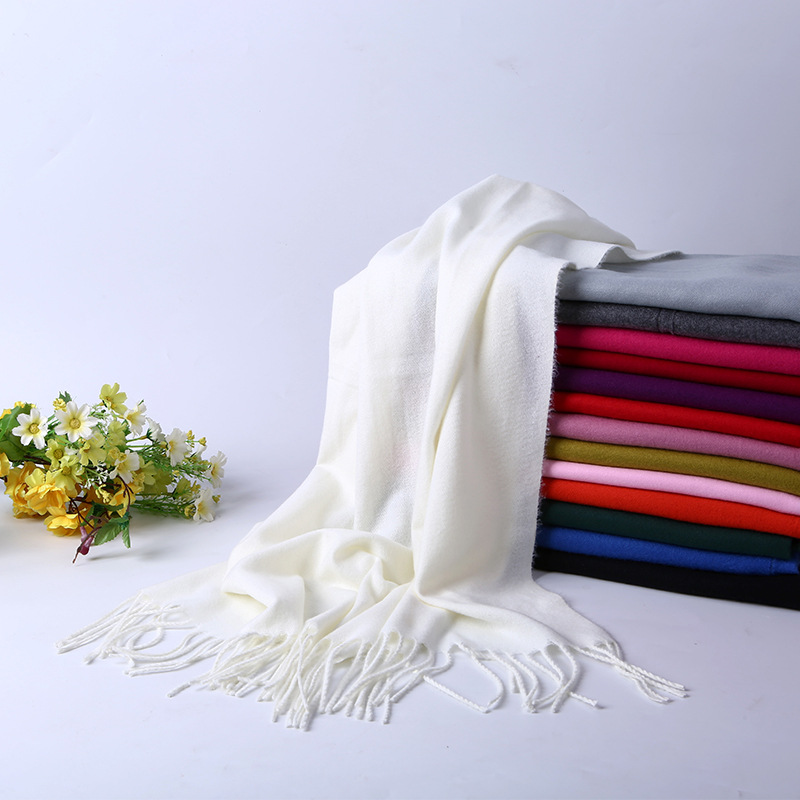 Korean-style Versatile Faux Cashmere Solid Color Scarf Women's Fashion Autumn And Winter Long Thick Tassels Shawl Dual Purpose S