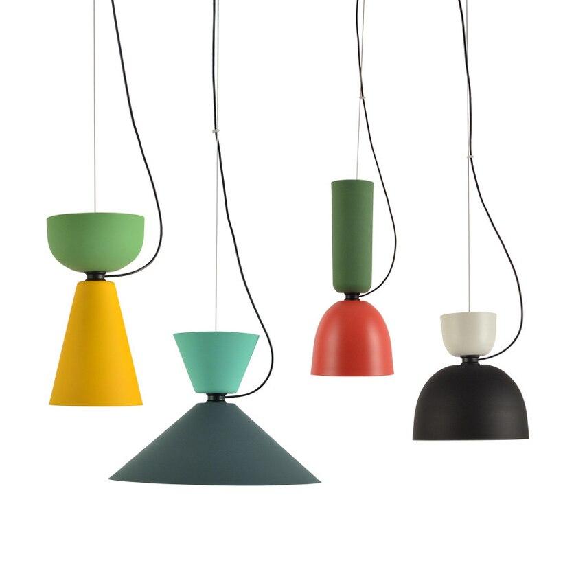 Nordique couleur lettre Lustre suspension lumières Simple salle à manger Hanglamp Loft décor couleur créative macaron suspension luminaire