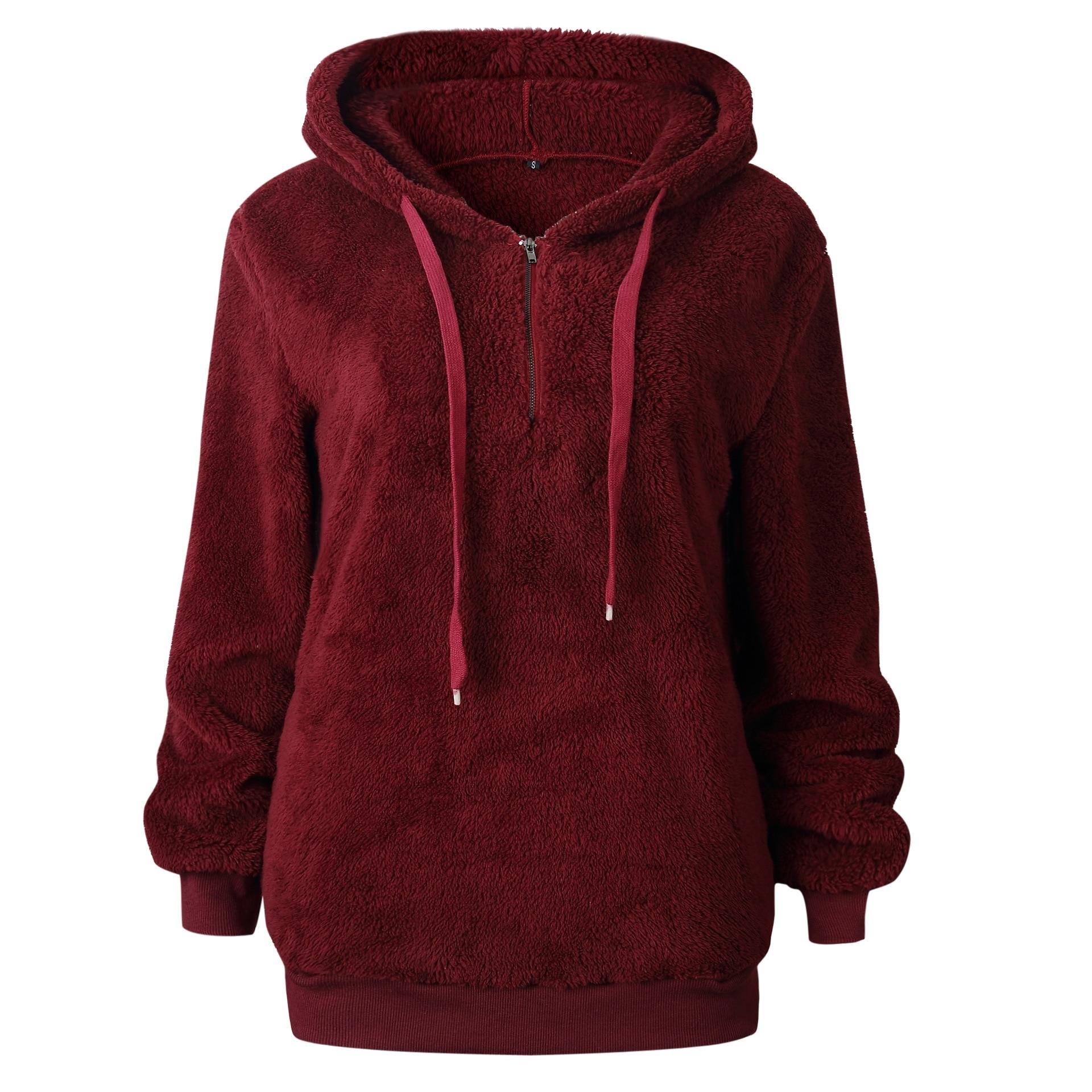 2019 Autumn Female Pullover Women Hoodies Solid Loose Drawstring Sweatshirt Long Sleeve Red