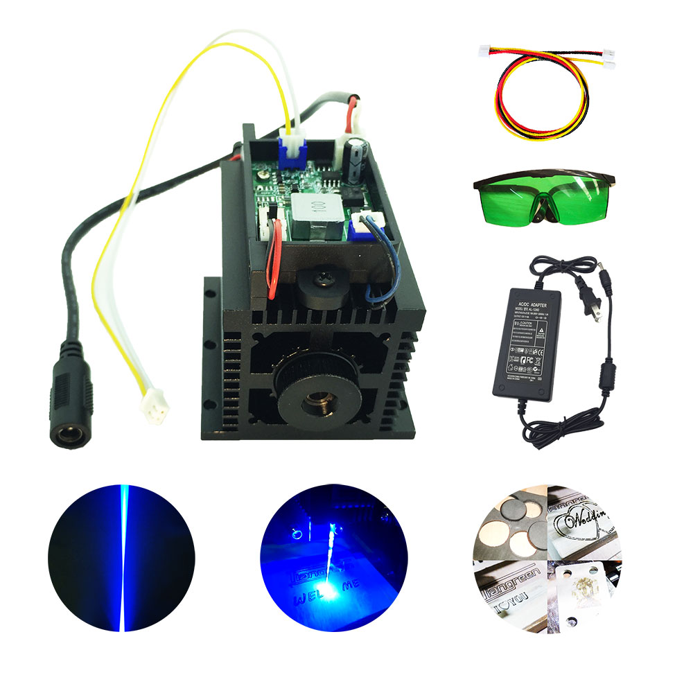 High Power 15w <font><b>Laser</b></font> <font><b>Diode</b></font> Module Lazer Head diy cutter engraver cnc machine for metal wood <font><b>450nm</b></font> 15000mw 15 w TTL image