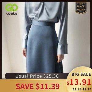 Image 1 - 女性のスカート韓国スタイルaラインサテンブラックハイ足首の長さの女性のスカートmujer段faldasファムjupes saias mulher