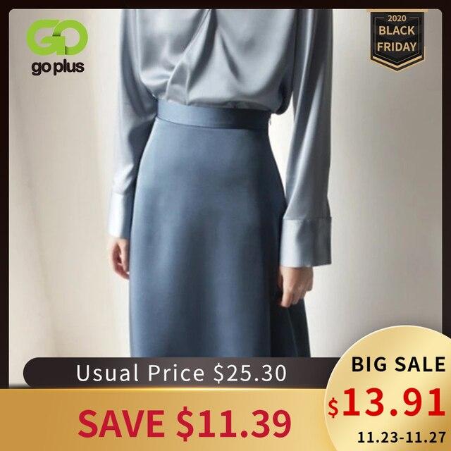 女性のスカート韓国スタイルaラインサテンブラックハイ足首の長さの女性のスカートmujer段faldasファムjupes saias mulher