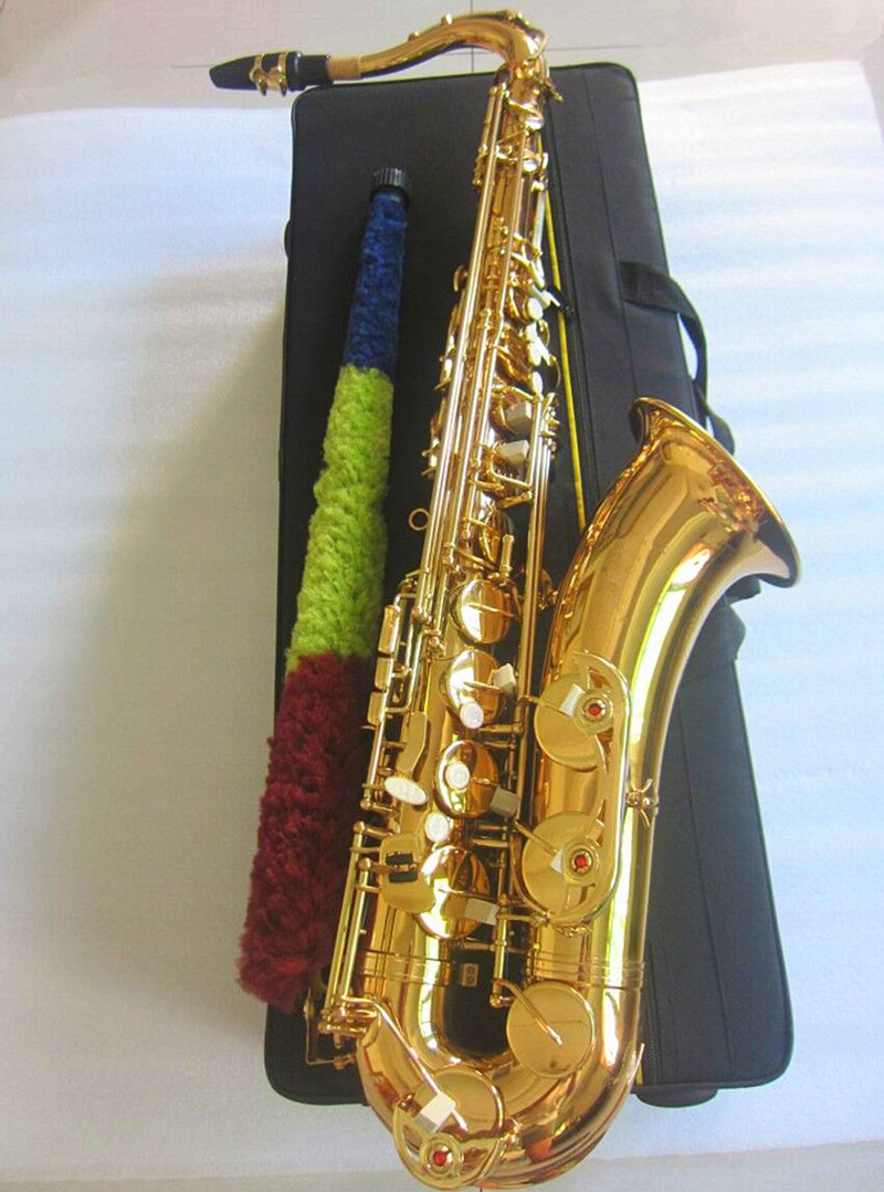 New Bb Tenor Saxophone Sax Brass Body Gold Woodwind Instrument with Carry Case Gloves Cleaning Cloth Brush Sax Neck Straps