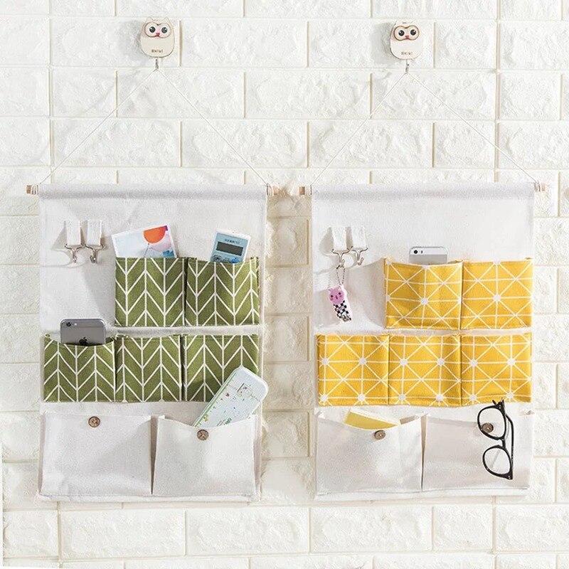 7 Pocket lattice Hanging Storage Bag Hanging Organizer Dorm Room Phone Book Magazine Storage Bag Holder with Hook Bed Pocket