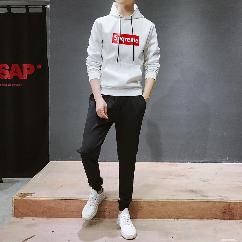 Leisure Sports Suit MEN'S Hooded Sweater Men Spring And Autumn 2019 New Style Korean-style Trend Hoodie Suit Men's
