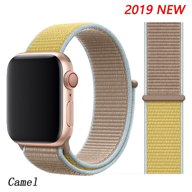 Спортивная петля ремешок apple watch band 42 мм 38 мм apple watch 4 3 band iwatch band 44 мм 40 мм correa pulseira 42 44 нейлоновый ремешок для часов - Цвет ремешка: Camel