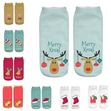 NEW Fashion Winter Socks Women's 3D Cartoon Funny Christmas Crazy Cute Amazing Novelty Print Ankle Socks цена