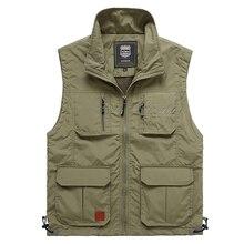 ฤดูร้อนตาข่ายบางMulti Pocketเสื้อกั๊กสำหรับชายใหญ่ขนาดชาย4สีเสื้อแจ็คเก็ตหลายกระเป๋าReporterเสื้อกั๊ก