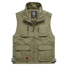 Summer Mesh Thin Multi Pocket Vest For Male Big Size Male Casual 4 Colors Sleeveless Jacket With Many Pockets Reporter Waistcoat