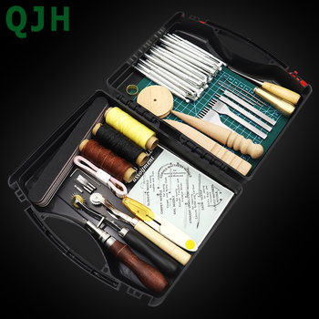 DIY Professional Leather Craft Tools Kit Hand Sewing Stitching Punch Carving Work Saddle Groover Set Accessories DIY Tool box