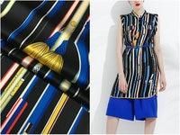 European and American brand vertical chain printed fabric 22mm heavy silk stretch satin fabric natural silk dress shirt fashion