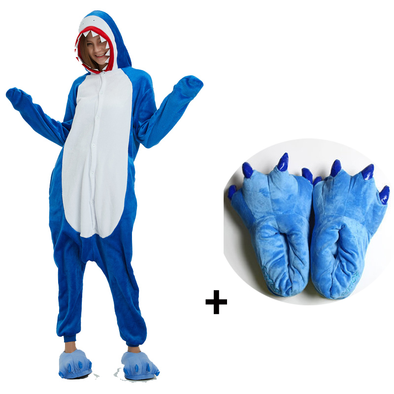 Shark Kigurumi Pajamas Animal Onesies For Adults One-piece Bodysuit Women Sleepwear With Slippers Cosplay Costume For Halloween