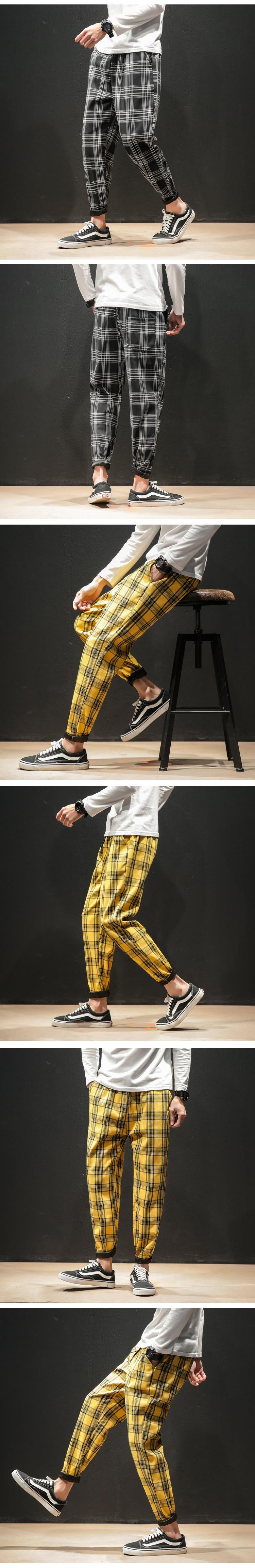 H85201ee0ac7f4976aa503256dc526137L Dropshipping Japanese Streerwear Men Plaid Pants 2019 Autumn Fashion Slim Man Casual Trousers Korean Male Harem Pants
