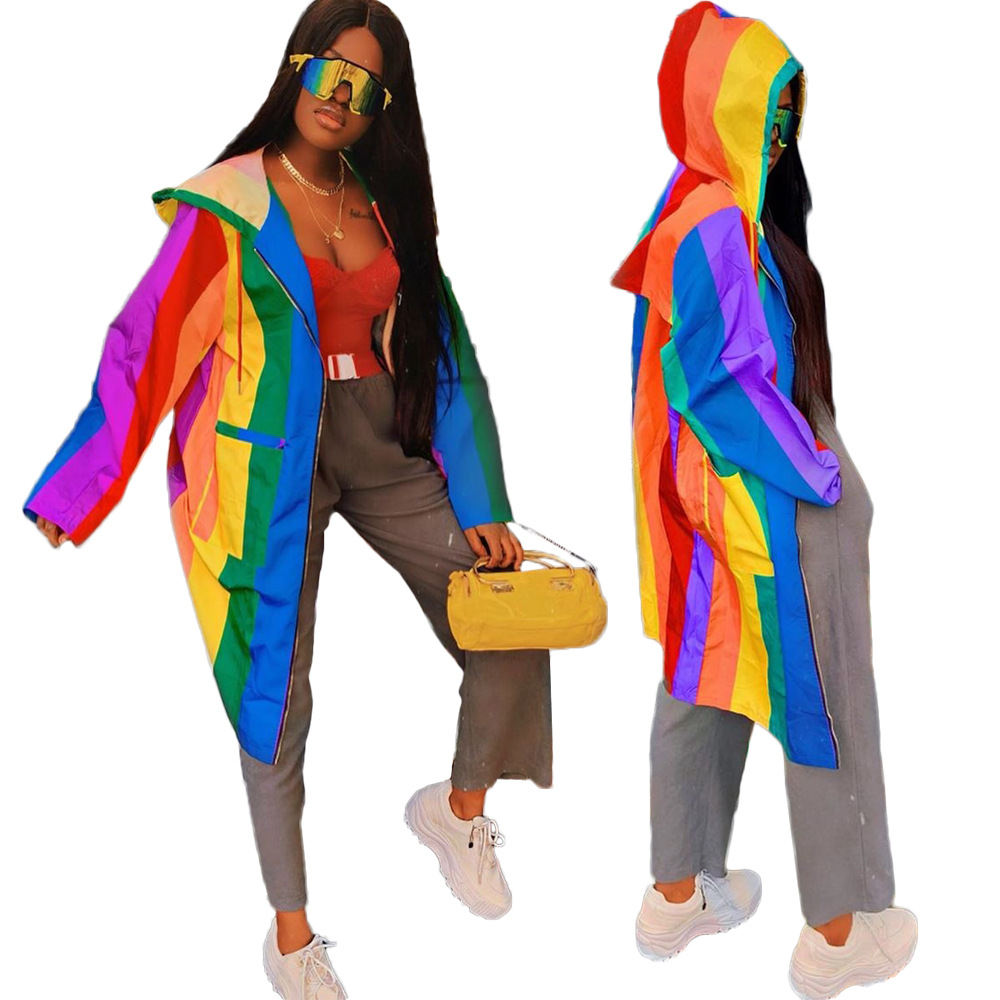 Autumn Winter Women Jacket Coat Rainbow Color Print Long Sleeve Hooded Long Jackets Coats Plus Size