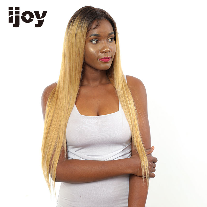 Ombre Colored Human Hair Wigs Honey Blonde Lace Front Wigs Straight Brazilian Cosplay 16-26″ Ombre 4x13 Long Wig Non-Remy IJOY