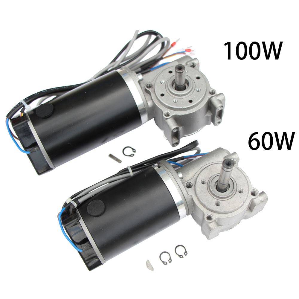 GW63100 DC 24V 60W 250rpm 100W 220rpm Worm Gear Motor Gearbox Intelligent Encoder For Electric Door / Hotel Glass Automotic Door-in DC Motor from Home Improvement    1