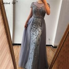 고요한 힐 두바이 크리스탈 짧은 소매 이브닝 드레스 디자인 2020 럭셔리 인어 섹시한 공식 파티 드레스 CLA60960