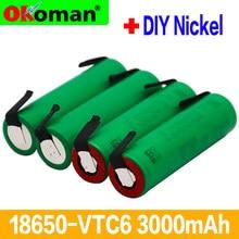 Vtc6 3.7v 3000mah 18650 li-ion bateria 30a descarga para us18650vtc6 ferramentas baterias + folhas de níquel diy