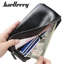 Fashion Leather Mens Wallet Purse for Men Card Holder Long Casual Clutch Male Zipper Coin Slim
