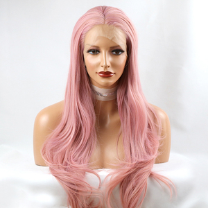 Image 4 - Fantasy Beauty Ash Pink Lace Front Wigs Long Wave Synthetic Lace Wig Hair Replacement Wigs for Women
