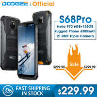 IP68 Waterproof DOOGEE S68 Pro Rugged Phone Helio P70 Octa Core 6GB 128GB Wireless Charge NFC 6300mAh 12V2A Charge 5.9 inch FHD+