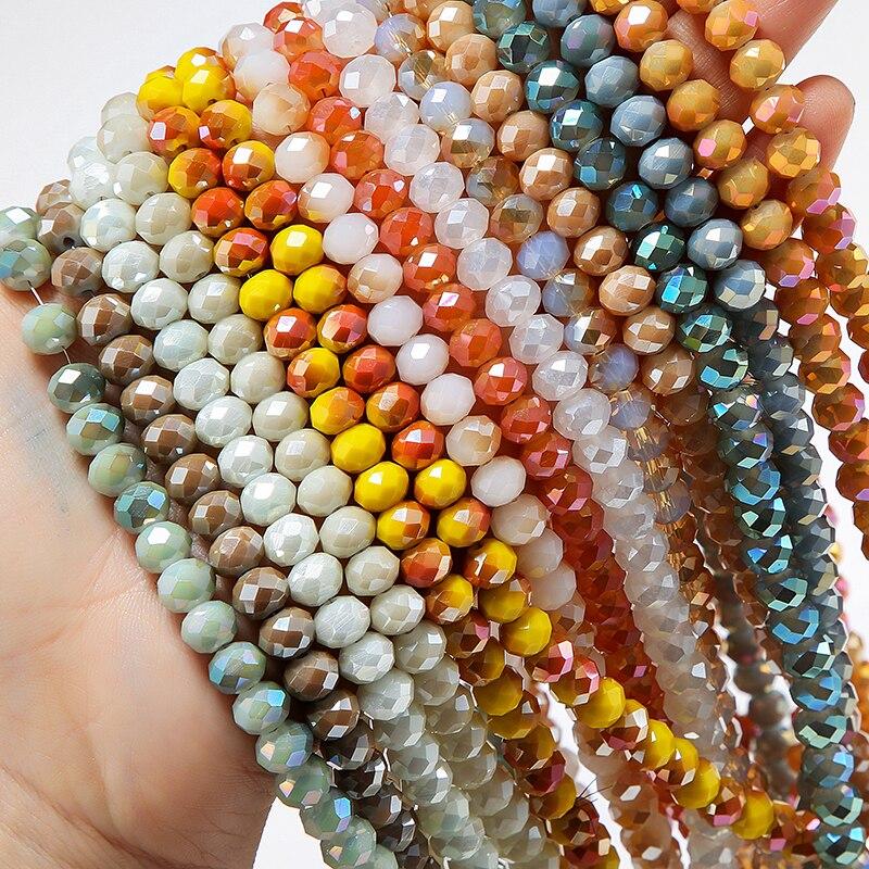 1 нить, Новые двухцветные хрустальные круглые стеклянные граненые бусины для изготовления ювелирных изделий, оптовая продажа