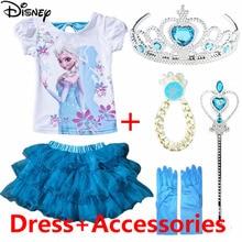 Disney Princess Dress 2019 Children Clothing Short Sleeve Girl Frozen Anna Performance Summer Tutu New