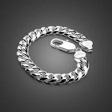 Moda męska biżuteria punkowa 100% 925 srebro bransoletka mężczyzna gruby kubański link chain 8 10 MM 7 9 cali bransoletka Bangle
