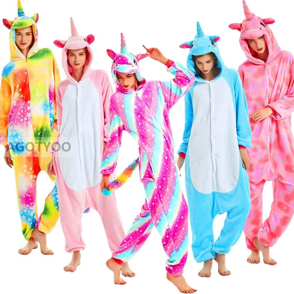 2020 Inverno Mulheres Homens Unisex Adulto Dos Desenhos Animados Onesies Animal Pijamas Unicornio Unicornio Unicornio Flanela Nightie Sleepwear Macacao Aliexpress
