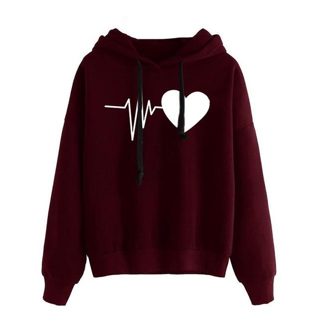 Women Hoodies Casual Love Print Solid Loose Drawstring Sweatshirt Long Sleeve Hooded 2020 Spring Autumn Female Pullover Tops 3