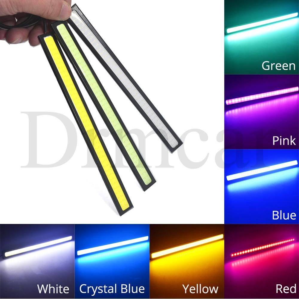 17cm DRL 2Row/1Row Car COB Driving Fog Lamp Double Day Time Running Lights Auto Waterproof Update Ultra Bright LED