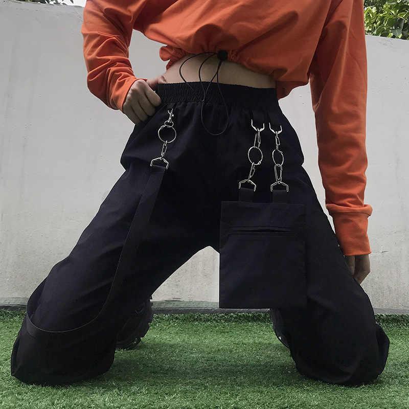 Pantalones Cargo Con Correa Militar Para Mujer Pantalon De Chandal Largo Con Hebilla De Metal De Cintura Alta Estilo Hip Hop Pantalones Y Pantalones Capri Aliexpress