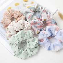 Sweet Chiffon Floral Leopard Print Hair Scrunchies Women Elastic Hair Bands For Girls Hair Accessories Retro Flower Rubber Bands(China)