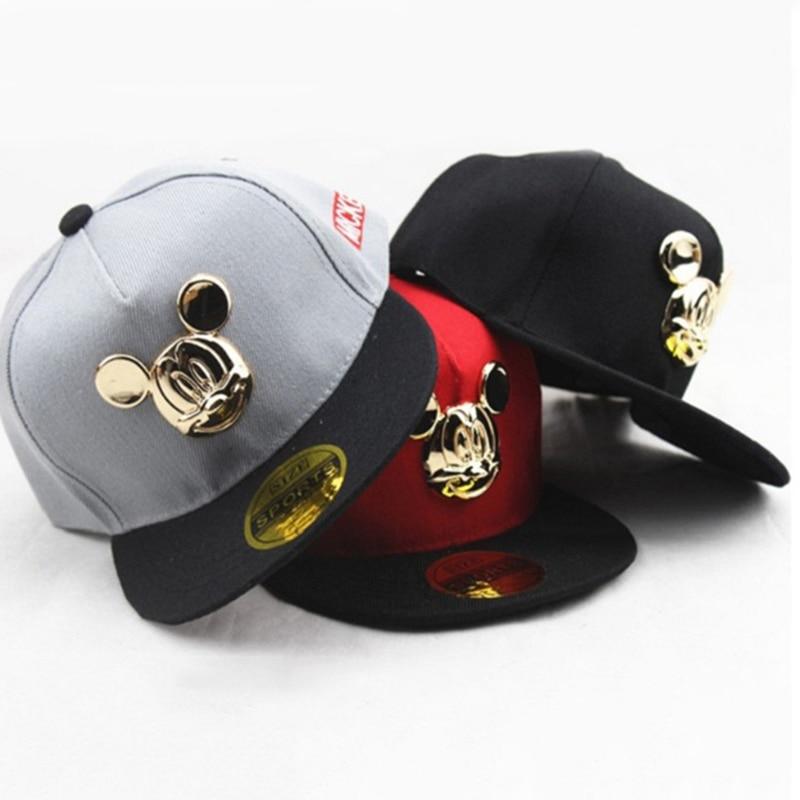 Золотой изображением «Микки Маус» для маленьких мальчиков шапки, шапка для маленьких девочек милый аксессуар для бейсболка в стиле хип-хоп ...