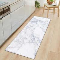 Alfombra de cocina antideslizante, alfombra de piso Felpudo de entrada de onda impresa de mar de mármol blanco y negro, alfombras para sala de estar y baño