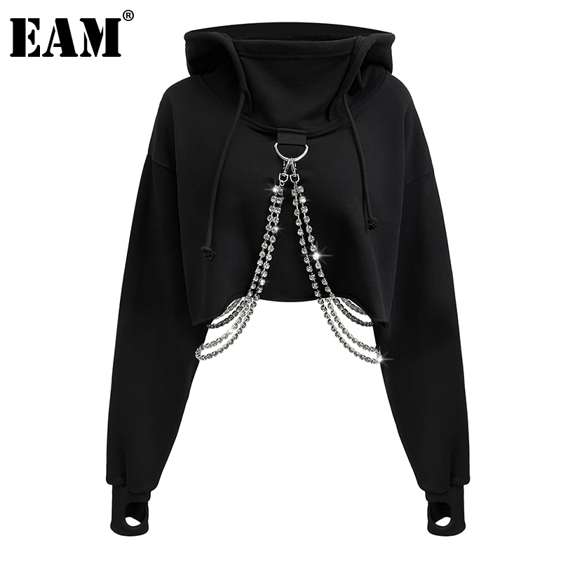 [EAM] Loose Fit  Black Metal Chain Short Sweatshirt New Hooded Long Sleeve Women Big Size Fashion Tide Spring Autumn 2020 1DB716 1