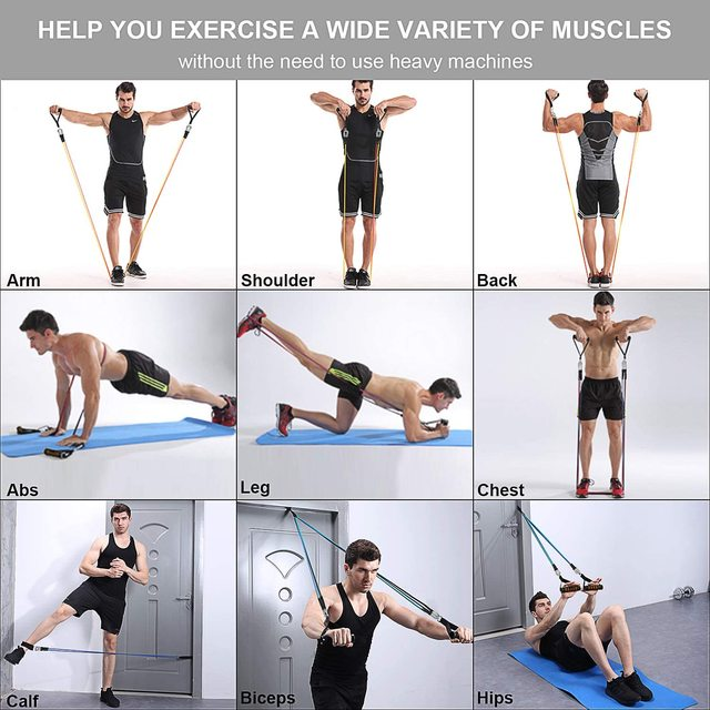 Resistance Bands Set Exercise Bands with Door Anchor Legs Ankle Straps for Resistance Training Physical Therapy