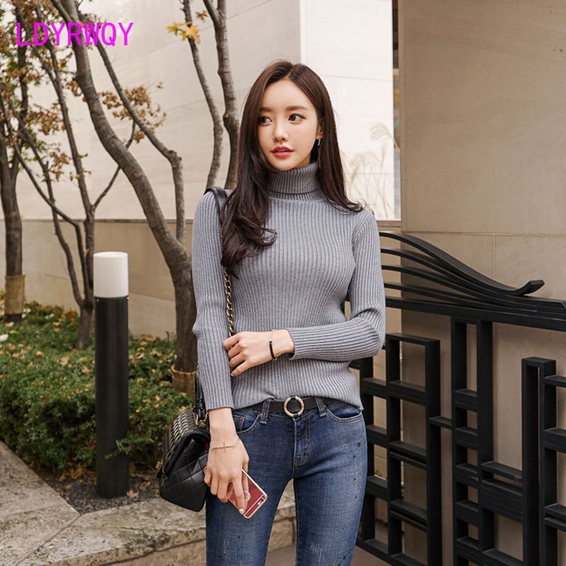 2019 Korean version of autumn and winter clothing new slim high collar bottoming knit women's solid color shirt sweater