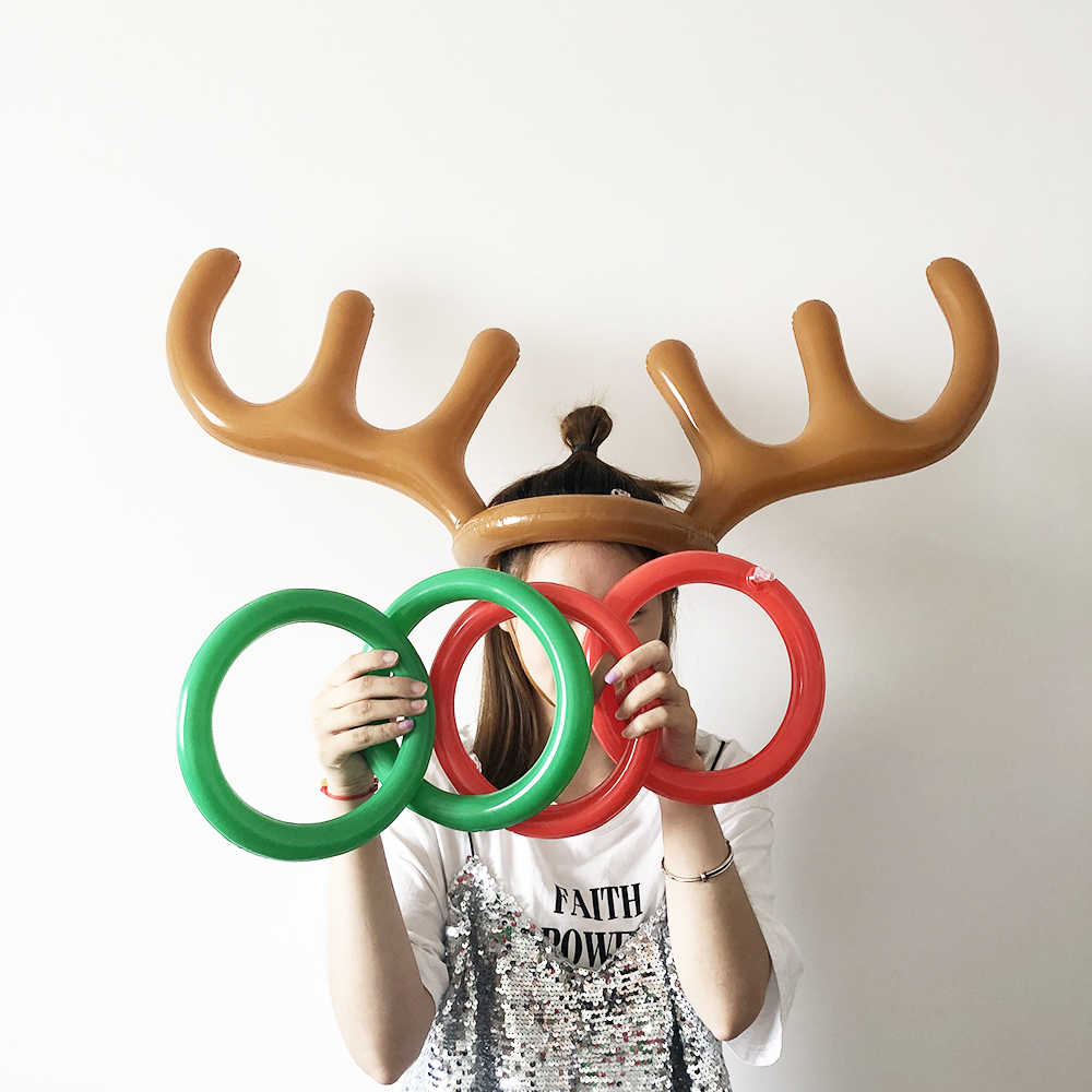 Inflatable PVC Santa Funny Reindeer Antler Hat Ring Toss Christmas Holiday Party Family New Year Game Supplies Christmas Toys