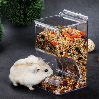 Pet Plastic Transparent Hamster Feeder Guinea Pig Food Bowl Container Can Squirrel Hedgehog Anti-flip Basin Automatic Feeder