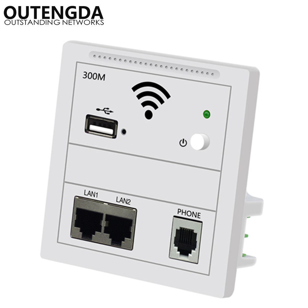 86-type 300Mbps In Wall AP Repeater Smart Socket Router Access Point Wireless RJ11 220V 802.3AF PoE WiFi Extender USB Chargin