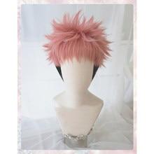 Anime Jujutsu Kaisen Yuji Itadori Wig Cosplay Costume Heat Resistant Synthetic Hair Men Women Short Wigs
