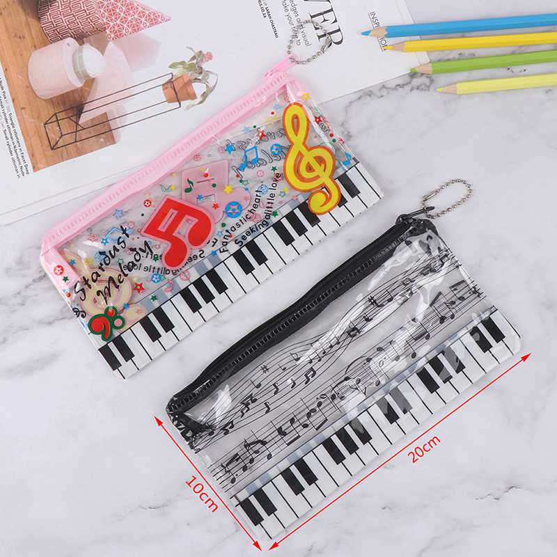 1 estuche para lápices de música teclado de música bolsa de plástico transparente para lápices material de oficina para estudiantes 20*10cm