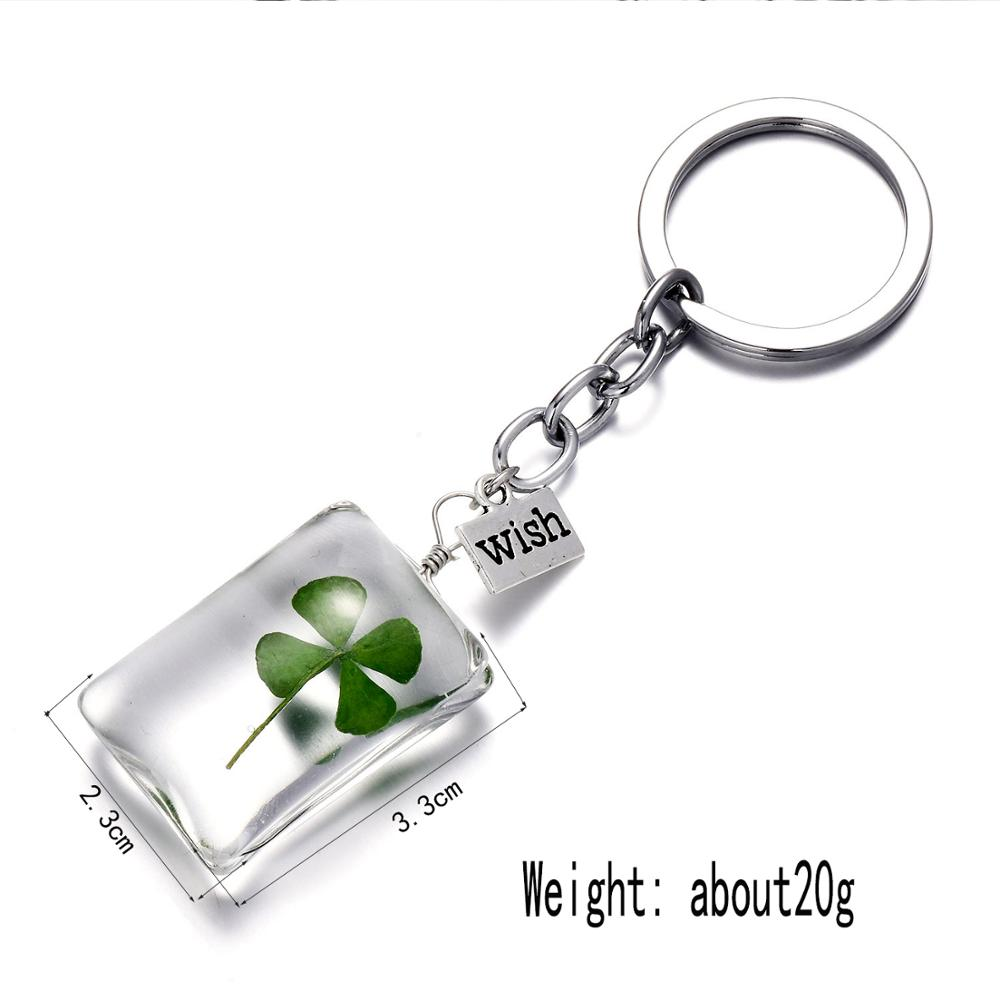 SIAN Lucky Four Leaf Clover Glass Keychain 3 Styles Natural Green Clover Exquisite Alloy Key Chain for Friends Birthday Jewelry